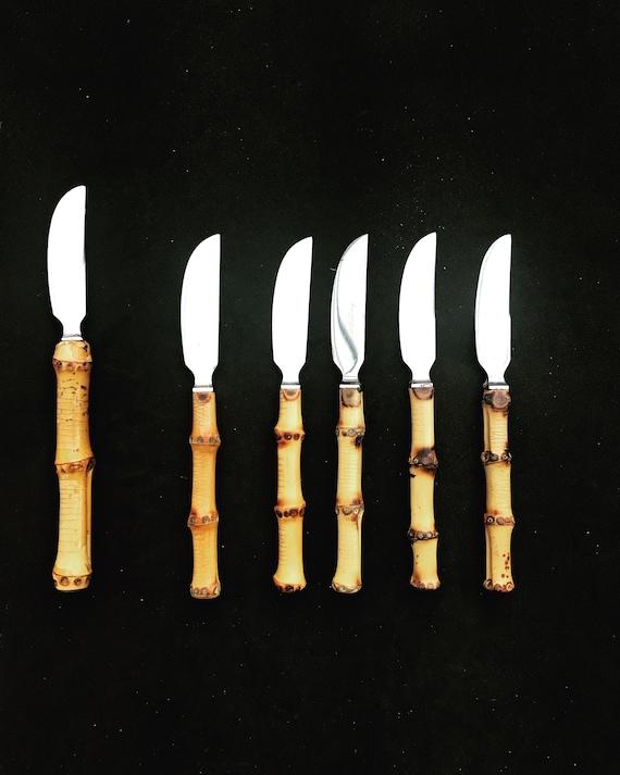 Kay Bojesen bamboo Handle Vintage knife Set Danish Bamboo Fruit Butter Set 1950s 6 Fruit knife Bamboo Handle Stainless Flatware  boho chic