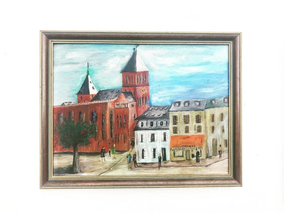 Vintage Original Art Painting, Acrylic French city Landscape with church and shops Wall decor entrance gallery framed wall art Gift hang