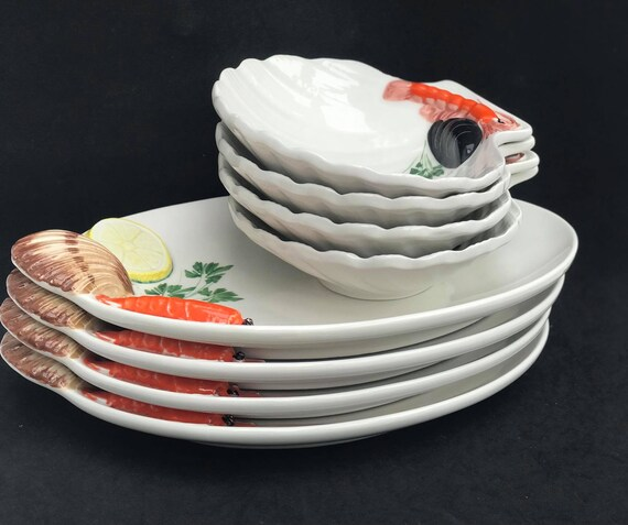 Seafood plates Lobster dinnerware 4 dinner/ lunch plates and 4 bowls shellfish italian 8 pieces stunning  handmade pottery  Italy