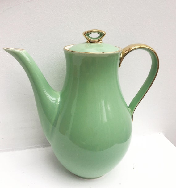 Coffee Pot Green Pastel Gold Handle Tea Pot Boch Freres Keralux Belgium Expo 58, Mint green Gold 24 k  Boch Seduction 1958 Belgian Pottery