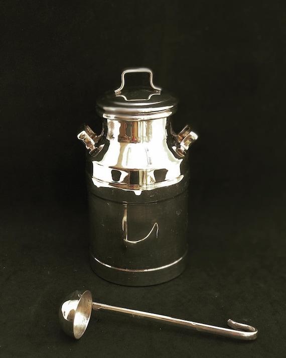 Milk Can or Milk Jug in Silver Plated Metal  Mid Century  delightful  Tea, coffee, old creamer, old creamer, flower vase, vase sweet box