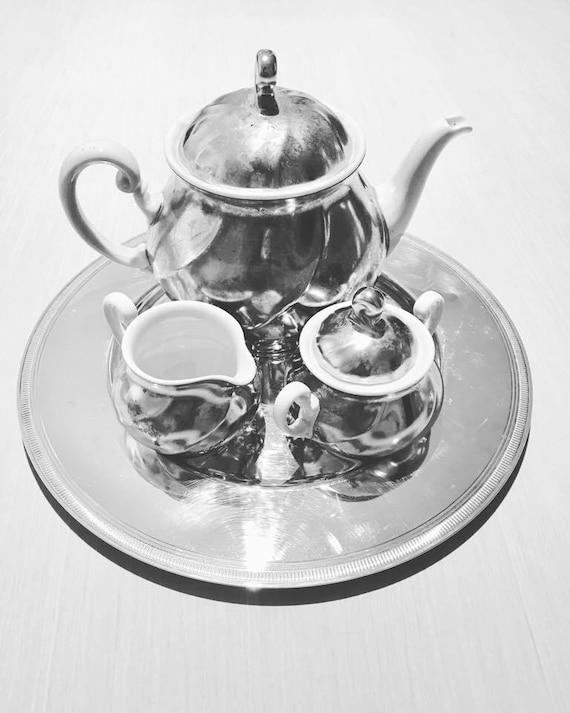 Tea set or Coffee Set of 3 pieces, teapot, sugar bowl and creamer, milk pot of the iconic Belgian house Demeyere. Vintage Belgium 1970s