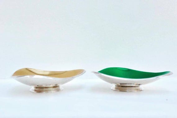 Danish Bowls Mid Century Modern, Scandinavian Vintage, silver plated and enamelled, designed by Carl Christiansen, MCM, Enamel Bol