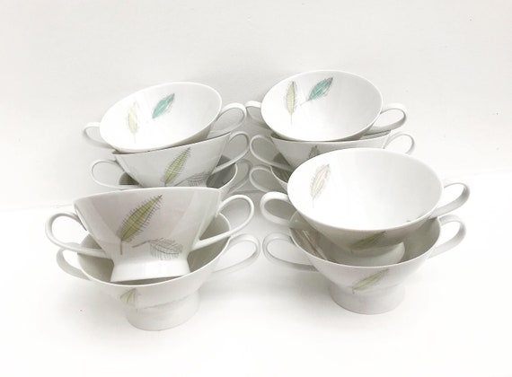 Rosenthal soup bowls set of 10 double handled soup cups Mid Century design by Raymond Loewy white porcelain made in Germany christmas table