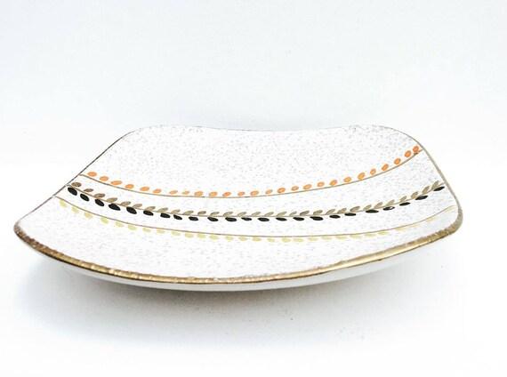 Mid Century Modern Pottery Bowl West German Bay Keramik Basket Handle Tray Art, Hand Painted  Art Pottery  Serving Platter, Fruit Bowl