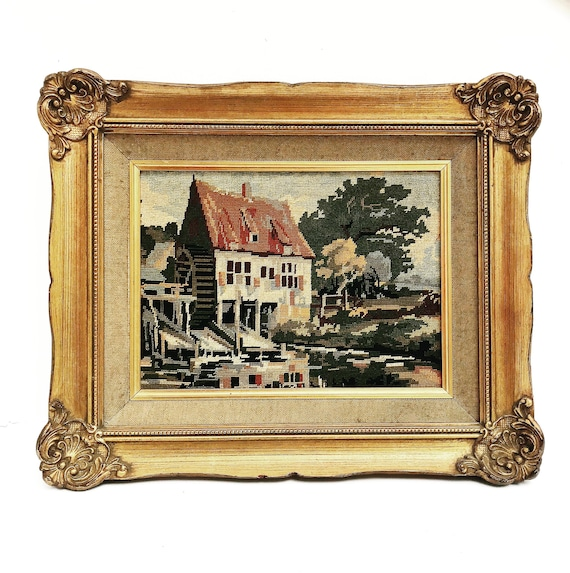 Framed Gobelin Needlepoint  tapestry printed golden frame Farm House to hang Vintage Cross Stitch Embroidery  Wall Decor Home Needlecraft