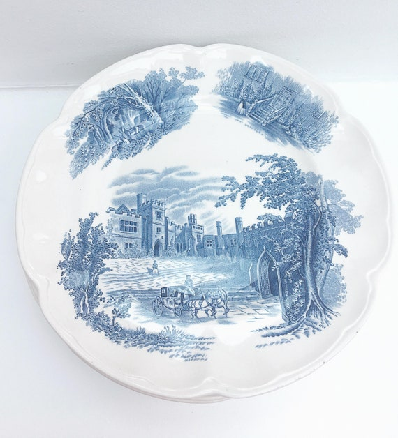 """1 Haddon Hall Blue by Johnson Brothers 1 entrée plate 8.8"""" discontinued china, replacement dinnerware white  blue English  engraved plates"""