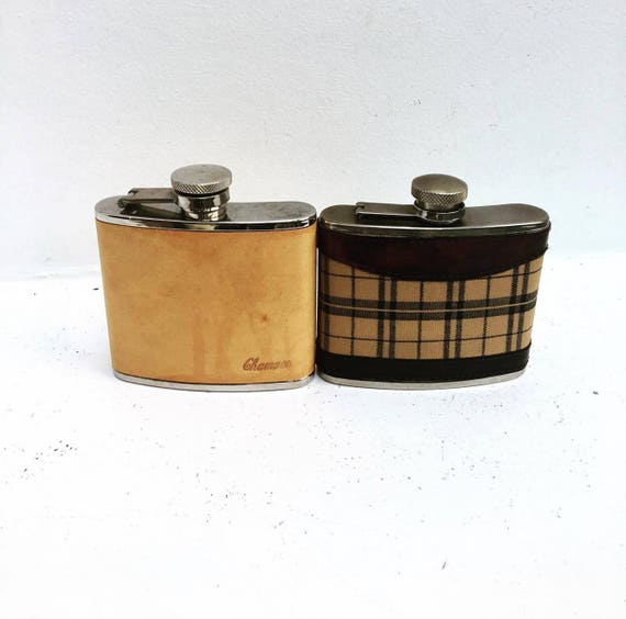 Hip Flask, Vintage Chamaco Leather ,Covered Stainless Steel ,Hip Flask Luxury ,Hip Flask Leather Portable ,Thickening Stainless Stee