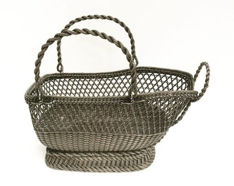 Wine Bottle Holder, Vintage caddy Basket, Wine Carrier Tote, 20th Century Decor Cottage French Vintage Bar Accessories Rustic French decor