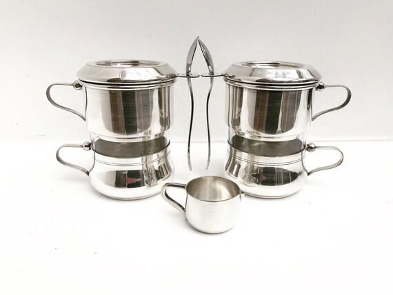 Vintage Coffee Makers Art Nouveau Single Cup Coffee filter french coffee Filter Single Cup  Silver Plated Vintage Drip O Lator Wiskemann