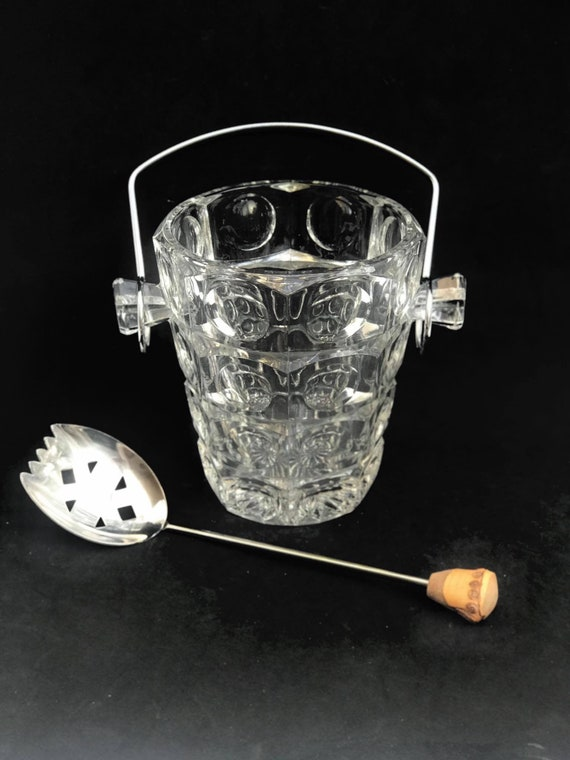 Ice Bucket Vintage Heavy Glass Bucket chromed Metal handle  50s. Carved, bar accessories, mid century modern vintage bar, cocktails gift him