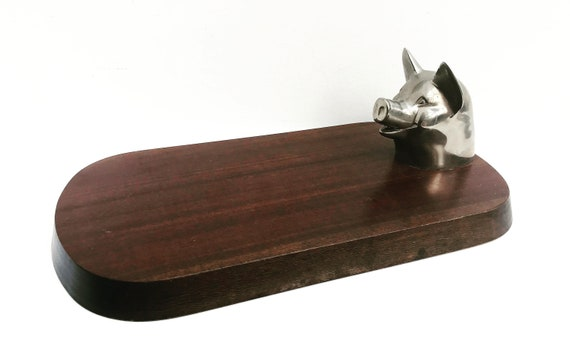 Cutting Board Chopping Wooden and Metal Pig made in France,  Cutting Board Serving, Display ham Party charcuterie cheese gift for him
