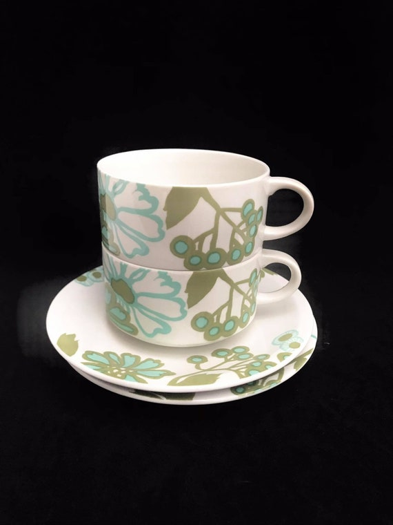 Villeroy and Boch Scarlett Vintage Breakfast tea coffee cups and saucers Christine Reuter Vintage Couples gift green