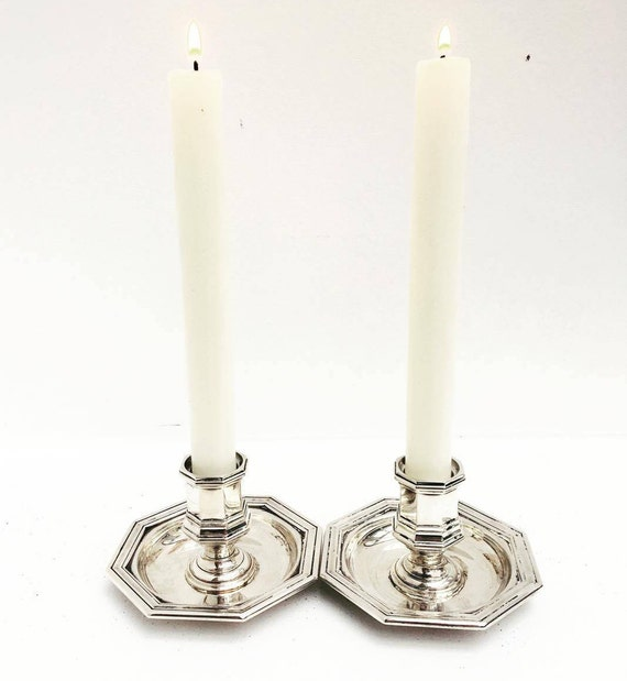 Christofle Candlesticks, French Candle Holders, Silver Candlesticks, Candle Holders, Vintage Candle Sticks, Pair Of Candle holders