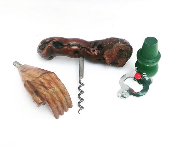 Corkscrew bottle opener wine bottle set 3 wooden bar accessories Mid Century barwarebar cart decor gift for collector scandinavian bar tool