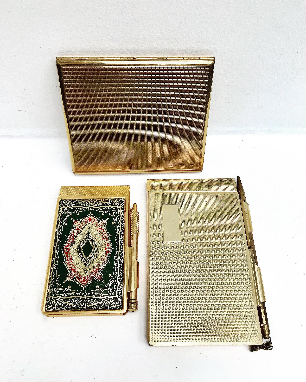 827fc5289295e Notebook Case Vintage Pencil Gold pocket Agenda leather Tone ...