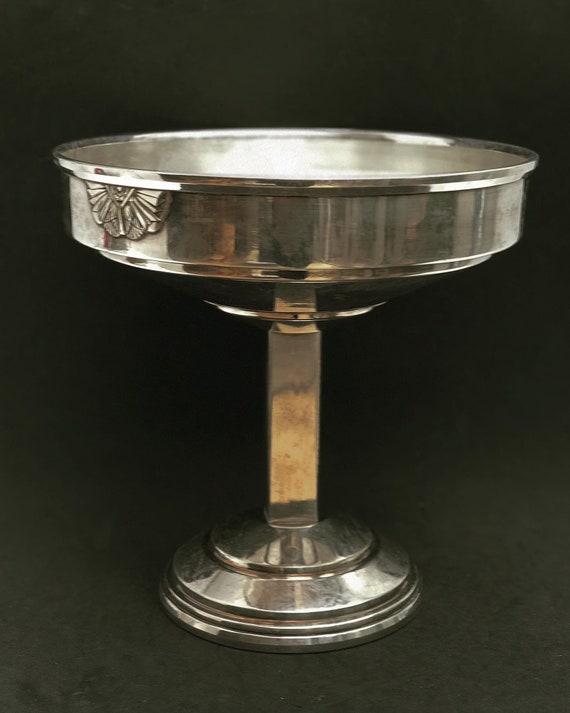 Pedestal Fruit Basket Art Deco Silver Plated Footed Centerpiece silverware art deco footed fruit plate  wedding gift
