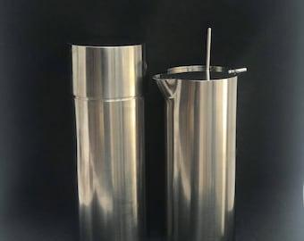 Arne Jacobsen Bar Set Cocktail Shaker and Jug original 1970s Stelton polished Danish Design Bar cart decor gift for him