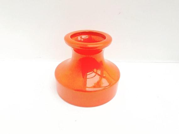 Modernist Orange Ceramic vase West Germany Mid Century home decor MCM glazed German pottery gift for him 70s home decor wedding gift