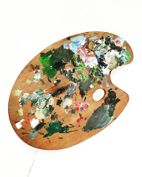 Artist Palette Vintage Wooden Artists Painters Old  painter  Boho chic decor  Palette oval Wall Art Hanging Art French Decoration