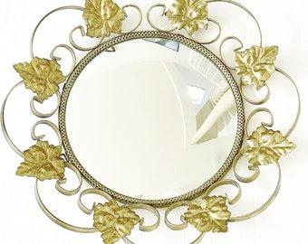 Convex Mirror with Golden  metal Frame leaves  Eye Witch French Vintage Gilt entrée bathroom  Gold Mirror, Gilt Mirror Hollywood Regency