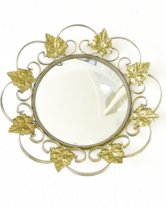 Convex Mirror with Golden  metal Frame leaves  Eye Witch French Vintage Gilt entrée bathroom  Gold Mirror, Gilt Mirror Hollywood Regency