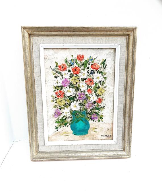 Oil Painting original Framed Still Life on board French Vintage wall art bouquet flowers acqua blue vase shabby chic decor golden  gift