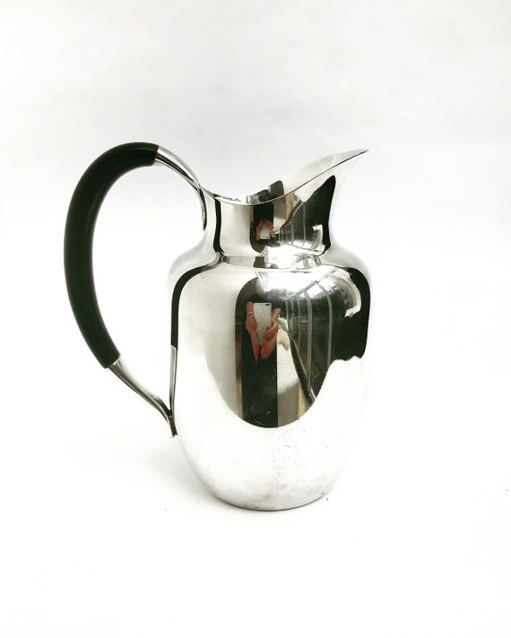 Water jug pitcher Hans Bunde Cohr Danish Mid Century Modern silver plated Alta Denmark Scandinavian design gift MCM table decor milk jug