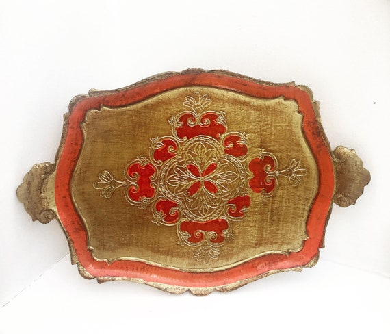 Florentine Golden rectangular Tray, Red and Gilt, Old Italian Plateau, 60s tray  in Florentine Style. Handmade  Decorated  antique painted