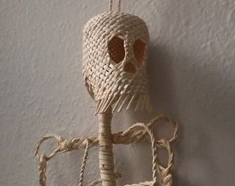 Mexican skull. Mexican skeleton. Natural fibers skeleton. Mexican catrina.