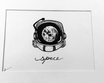 Space helmet, space art, galexy art, creative artwork, art, drawings, black and white