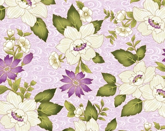 Ribbon Swirl Floral LT.Lilac, Ribbon Floral, Dover Hill Studio, Benartex Fabrics, pink floral Cotton Quilting Apparel Fabric by the yar