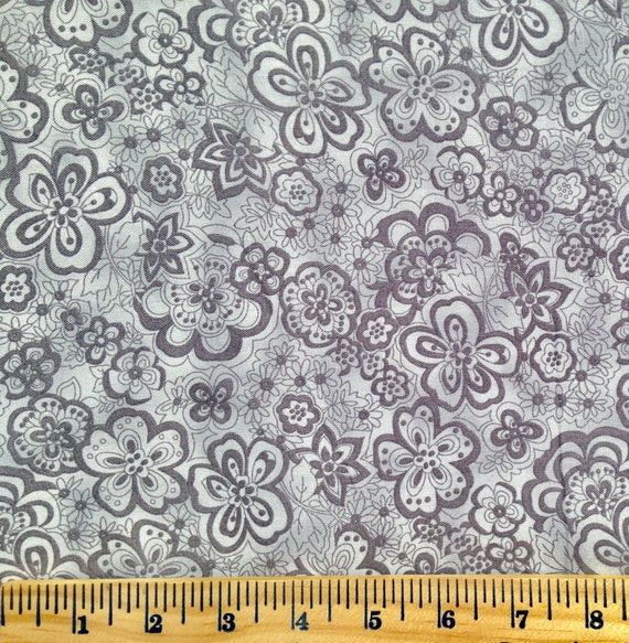 Grey Floral Backing Fabric Extra Wide Quilt Backing Fabric Etsy