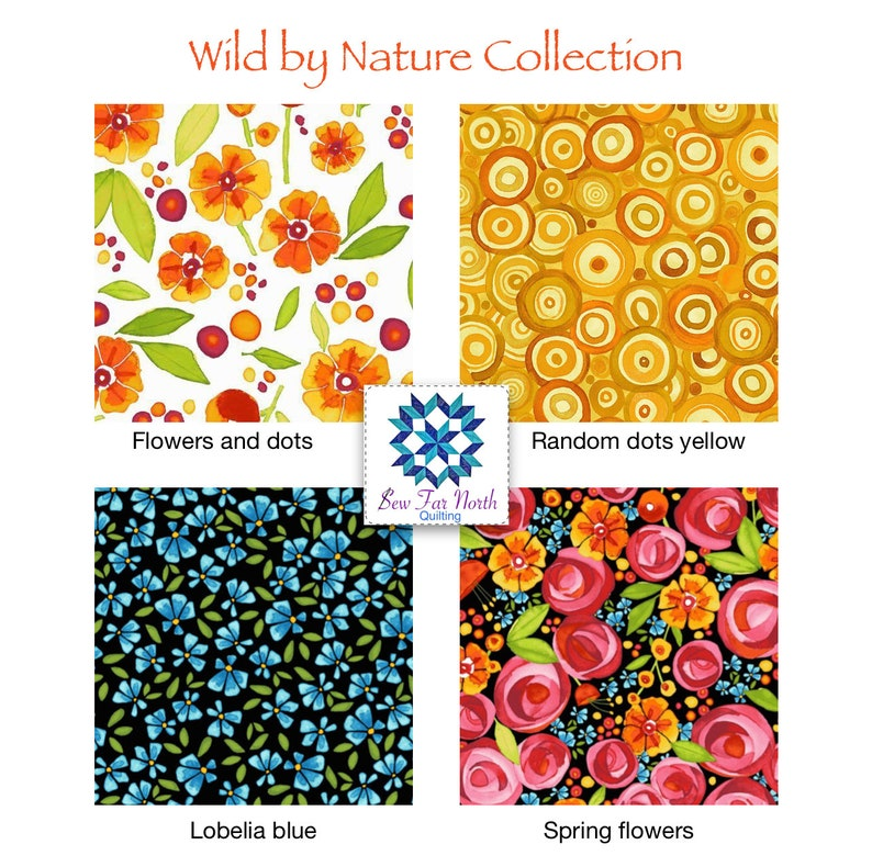 cotton quilting sewing apparel fabric by the yard Wild by nature Lobelia Blue Petite Flowers Fabric Maywood studio fabrics Floral Fabric