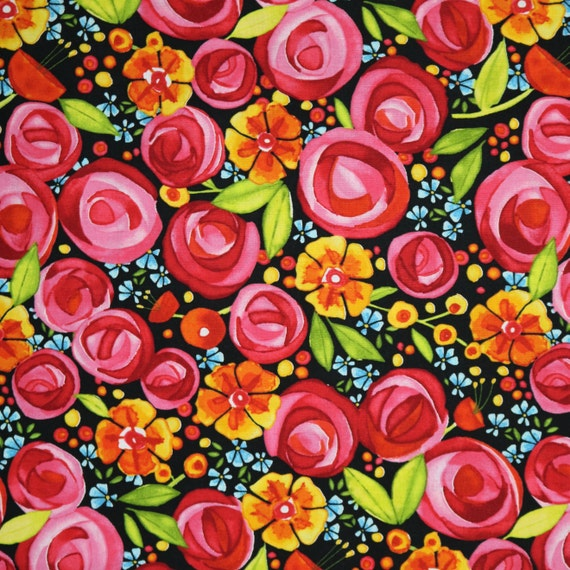 Spring Flowers Fabric Wild By Nature Mas8440 J Maywood Etsy