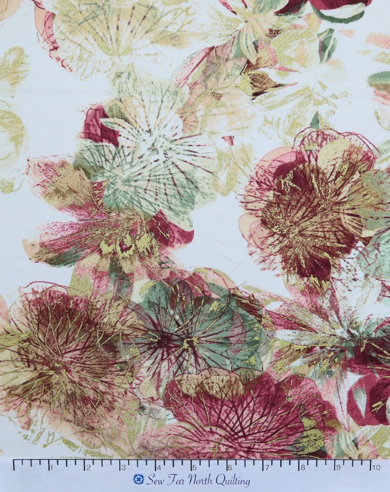 Benartex Fabrics Large Floral Quilting Sewing Craft Apparel Fashion Fabric by the Yard Photo Impressions Cream Rose Fabric