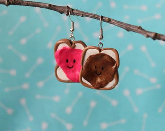 Sweet Peanut Butter and Jelly Earrings, Polymer Clay Earrings