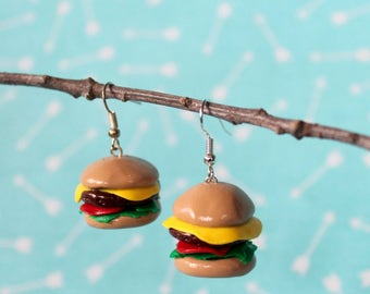 Little Cheeseburger Earrings, Polymer Clay Earrings
