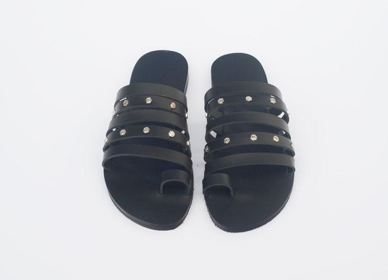 Unique sandals NY leather stories Greek sandals Black sandals Custom colour Ancient sandals Women sandals Hand made leather sandals