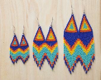 Beaded fringe earrings Bright woven boho chic earrings Long colorful earrings Native american earrings Ombre earrings dangle