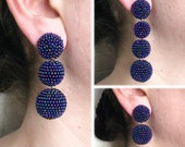 Petrol Blue Bon Bon Earrings Clips Studs, Beaded Balls Blue Earrings, Petrol Blue Balls Drop Earrings, Blue Bonbons, Bon Bon Blue