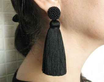 Thick Silk Black Tassel Earrings On Studs, Silk Black Beaded Thick Tassel Earrings, Massive Black Silk Tassel, Black Stud Earrings
