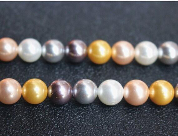 Perles de coquille de la mer du sud de multi couleur, 10mm perles rondes de coquillage, perles de coquillage couleur mixte, 15 pouces un chapelet
