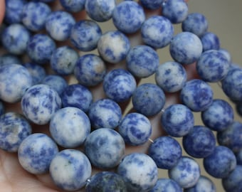 """15 """" one strand ,6mm 8mm 10mm 12mm Blue Spot Matte Round Beads, Natural And Smooth Round Beads"""
