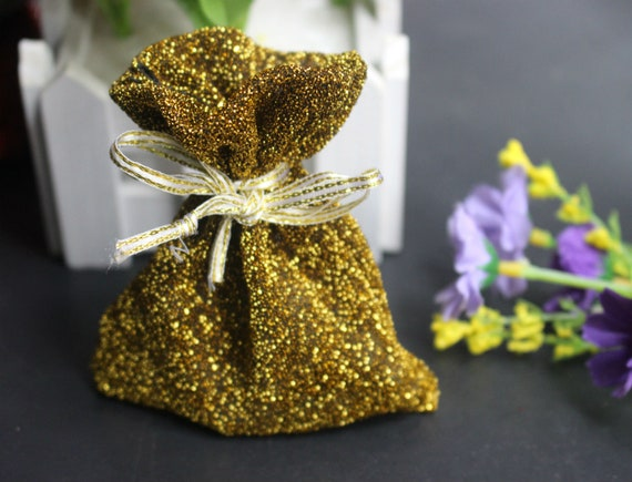 41dd662fc5 20pcs Gold color Drawstring Bags Pouch Wedding Favor Gift