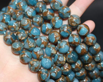 15 Inches Full Strand ,Blue Mosaic Smooth Round Stone Beads, Loose Beads.