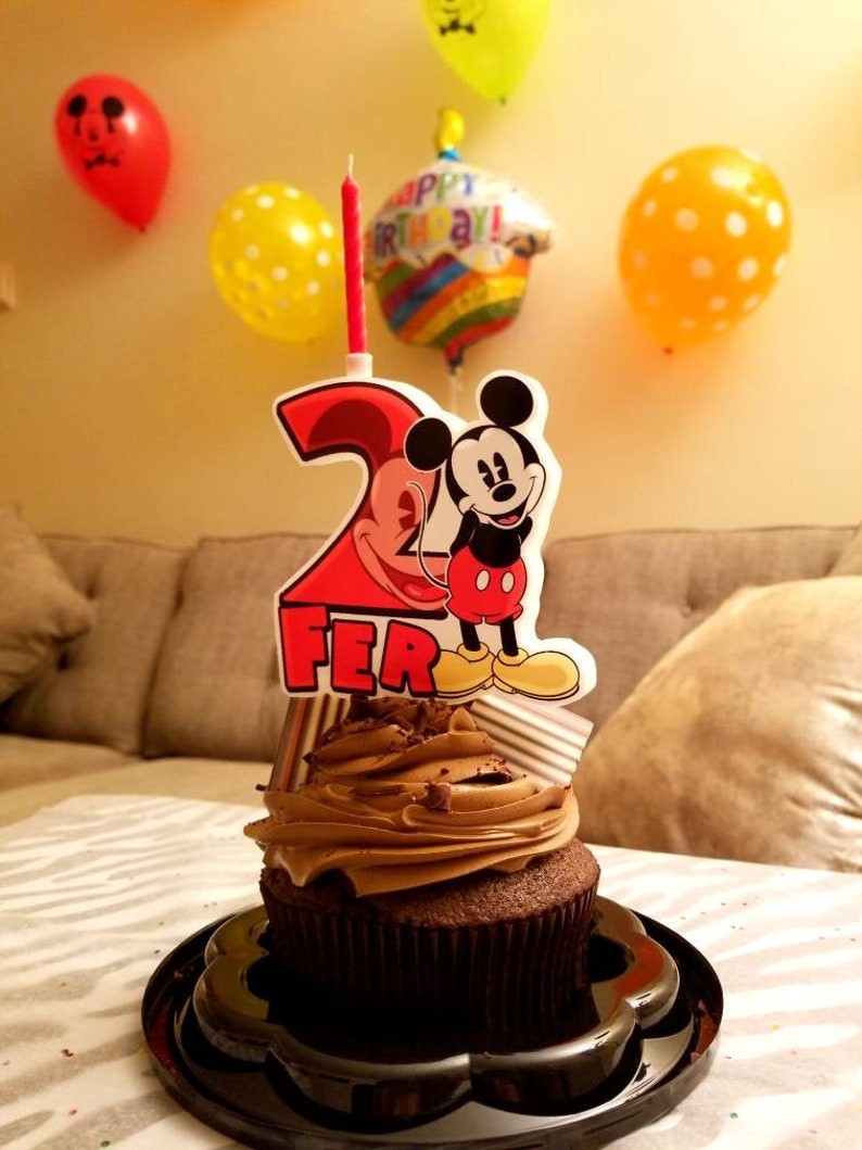 Mickey Mouse Cake Candle Personalized Birthday Custom