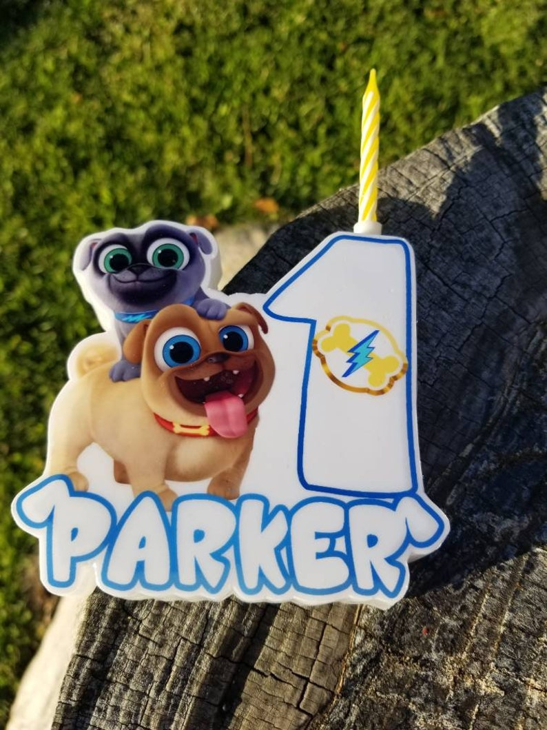 Puppy Dog Pals Personalized Birthday Candle Cake Topper Wax