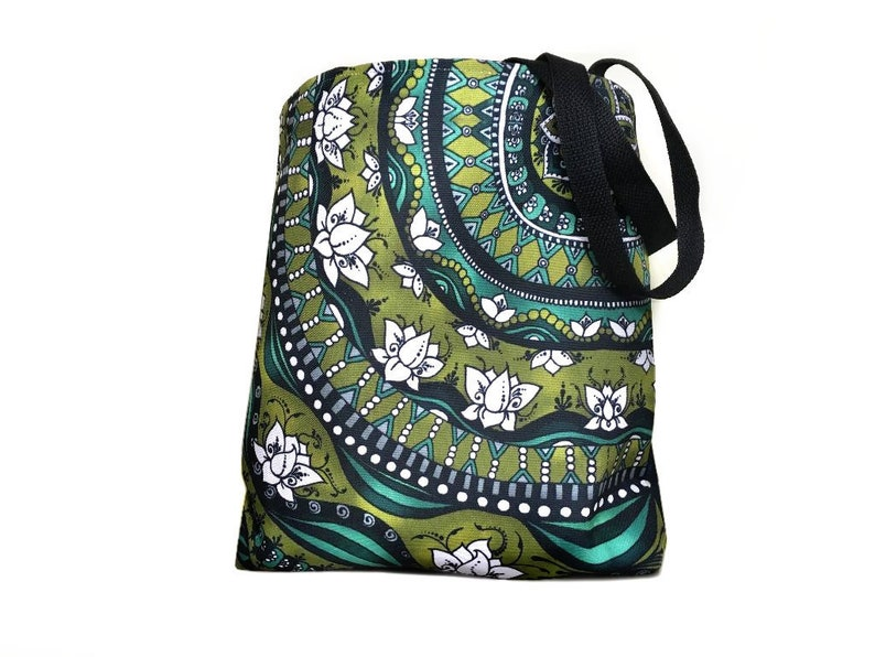 Floral Tote Blue Lotus Flowers Bag Grocery Shopping Tote image 0
