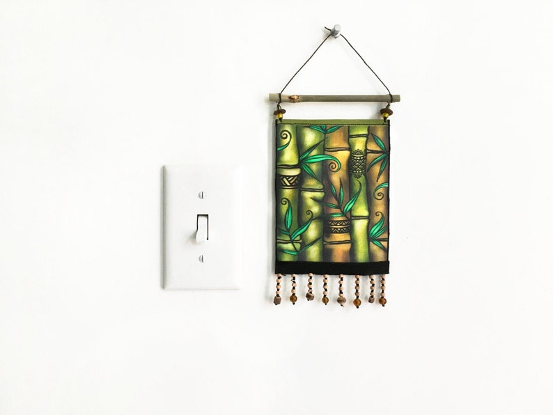 Lucky Bamboo Art 5x6 Tiny Wall Hanging Tapestry image 0